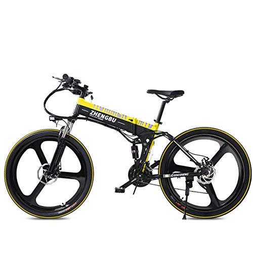 SportArts Bicicletta da Montagna Pieghevole Elettrica con Pneumatico di Riparazione Automatico E Cambio A 27 velocità Li-Batteria Estraibile da 48V,Yellow-48V10AH
