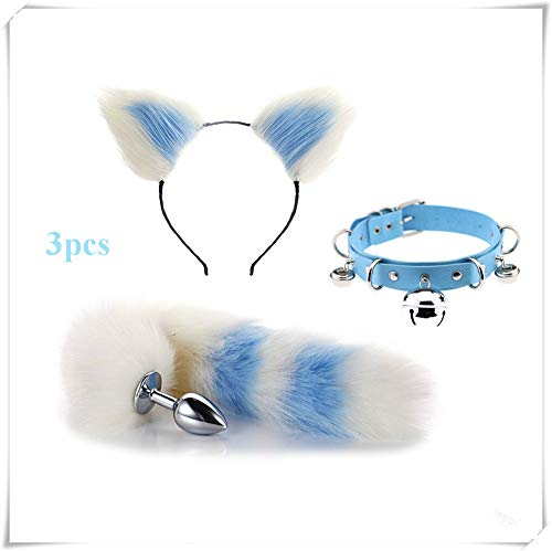 ieyol Popularation Fashion Dress Up Party Toy Game Suit Set - Fox tail B-¨¹tt an-?l Pl-¨´g T-?-ys& Short Plush Cat Ears Headwear&leather choker Clinking bell Women's necklace(white&blue3)