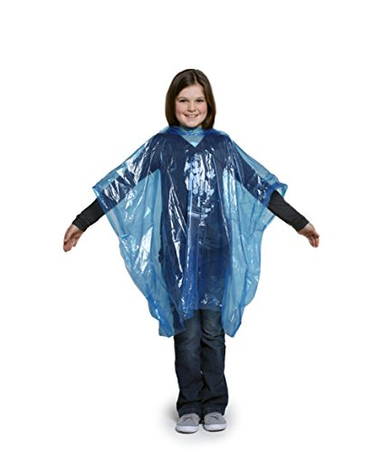 Rain Poncho Child Size Suit Ages 6-10 Years Waterproof Disposable Pack of 4