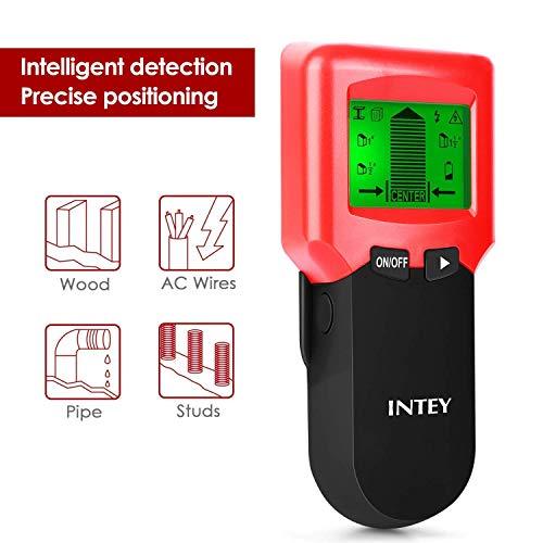 INTEY Rilevatore Tubi e Cavi Elettrici 3 in 1 Multi-Scanner con 3 Modalità Schermo LCD, Metallo/Filo AC/Stud Sensore di Materiali, Rosso