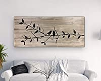 Claude16Poe Love Birds Bird Branch Art Wooden Printed Wood Wall Art Leaves Tree Art Nature Art Gift for Husband Wife Wedding from Claude16Poe