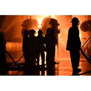 Firemen Fighting Raging Fire With Huge Flames Photo Art Print Poster 46x30 cm inch