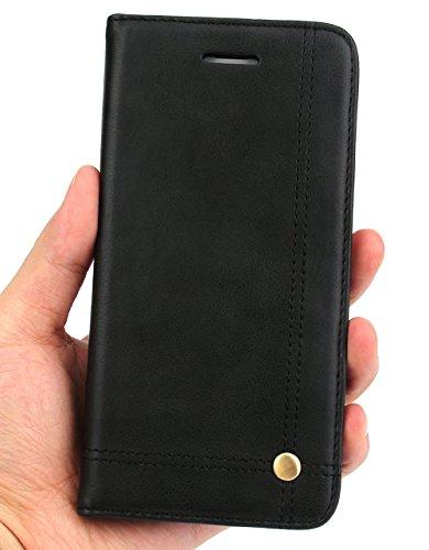"""Nnopbeclik® [Coque Iphone 7 Plus silicone] """"Portefeuille"""" en Bonne Qualité PU Cuir Housse pour Iphone 7 Plus Coque Apple (5.5 Pouce) Simple Style Flip Case Intérieur en Silicone Etui""""NOT FOR IPHONE 7  noir"""