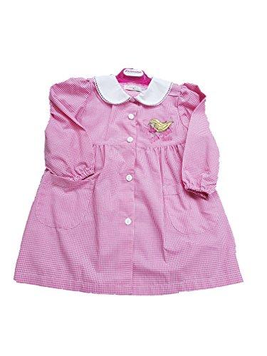 Ambrosino grembiule asilo a quadri rosa per bambina scuola materna (art. g301s) (65-6 anni)