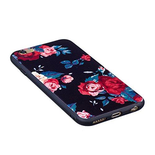 Custodia Cover per iPhone 6S,Silicone Custodia per iPhone 6,Leeook Freddo Nero Bella Rosso Rose Fiore Modello Silicone Bumper Antiurto Protettivo Skin Custodia Coperture Ultra Sottile Flessibile Morbi Rosso Rose Fiore