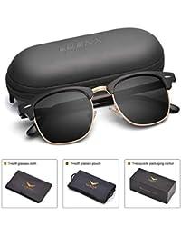 luenx Clubmaster Medio Marco Gafas de sol polarizadas para hombres mujeres con funda para gafas