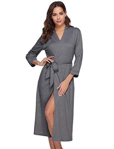Abollria Bata para Mujer Algodón con Escote en V Albornoz de Kimono de Mujer Ropa de Dormir con Cinturón...