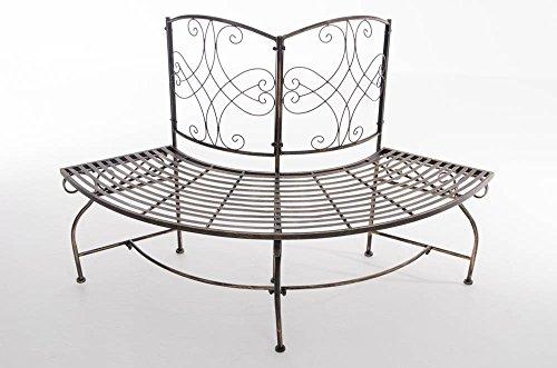 CLP Metall Eckbank / Gartenbank LORENA, Baumbank Design nostalgisch antik, Eisen lackiert, ca. 140 x 60 cm Bronze - 3