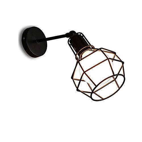 ZHANG NAN ● Drahtkäfig Industrielle Wandleuchte Licht Vintage Edison E27 Metall Retro Lampe Kopfteil Schlafzimmer Nachttisch für Küche Scheune ● -