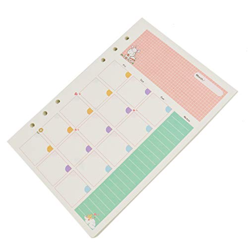 Jeteho 90 Blatt A5 Größe Notizbuch Nachfülleinlagen Füllpapier Seiten für 6 Löcher Binder Notebook Tagesplaner Journal (Monatsplan)