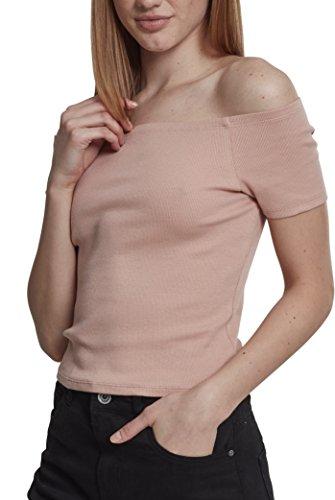Urban Classics Damen Ladies Off Shoulder Rib Tee T-Shirt, Rosa (Lightrose 00823), Large (Herstellergröße: L) Classic Rib