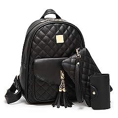 Idea Regalo - Beylasita® Borsa da donna Set zaino 3 in 1 Daypack in pelle PU con portafoglio nero