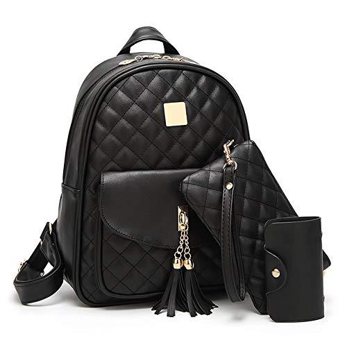 Beylasita® Borsa da donna Set zaino 3 in 1 Daypack in pelle PU con portafoglio nero