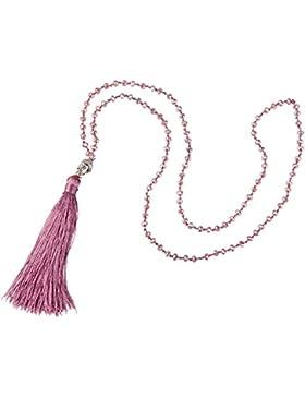 Boho Kubisch Zirkonia Geschaffen Diamant Y Halskette mit Quaste Anhänger (30 Zoll, 4mm/Perle)