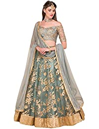 052d4b75cf2 Ultrasav women s Embroidered grey colour Semi Stitched lehengas