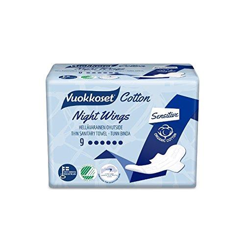 VUOKKOSET Cotton Night Wings, Damenbinden mit Flügeln (902004),9St