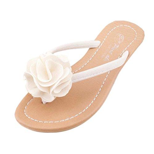 Chinelo Bohemia Lazer Praia Sandálias Mulheres Ao Sapatos Brancas Senhora Livre Baixos Da Omiky® Flor Ar g4xwwEA