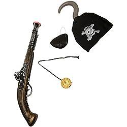 Pistola, parche y garfio de pirata, talla única.