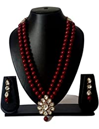 Stylish Maroon Pearl & Kundan Necklace Set With Earings For Women