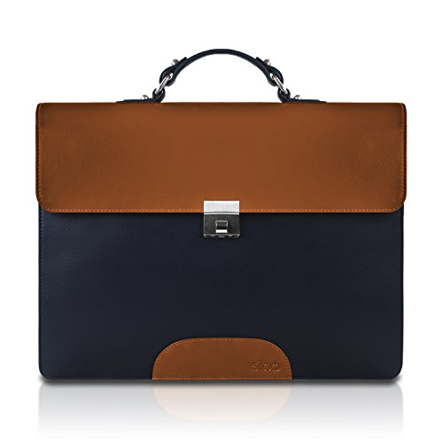 SILEO® Premium Echt Leder Aktentasche ADAM mit gepolstertem Innenfach für Laptops bis 15,6 Zoll