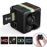 Mini Cámara Espía Oculta Mini Cámara de Vigilancia con Tarjeta SD de 8GB, 1080P HD Grabadora de Video Portátil Camaras de...