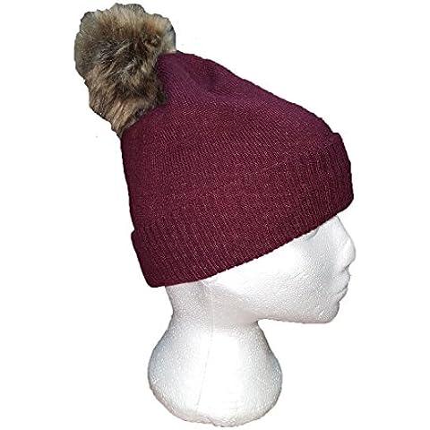 Nuovo Cappello con pelliccia ecologica bordeaux con crema POM