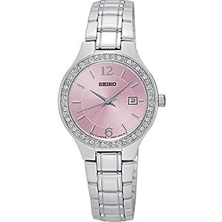 Seiko sur787de las mujeres pulsera de plata de acero inoxidable banda esfera rosa reloj