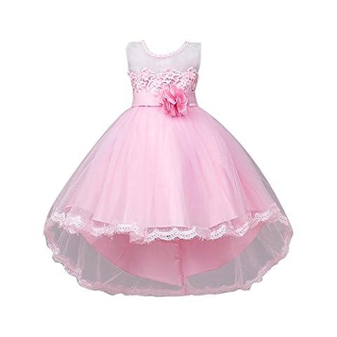 Brightup Kind Baby Partei Kleid Sommer Spitze Hochzeits Abend Formales Kleid Süßes, Pink, 7-8 Jahre