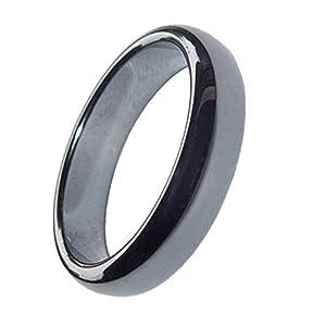 2 Stück Hämatit Ringe 6 mm Breite schönes glänzendes grau anthrazit verschiedene Größen (59 mm)