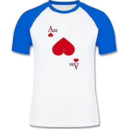 Statement Shirts - Herz Ass - zweifarbiges Baseballshirt für Männer Weiß/Royalblau