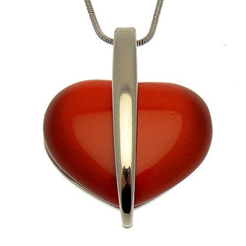 Stein-Moderne Halskette Herz, silberfarben, inklusive Geschenkbox (Damen Cat Kostüm Uk)