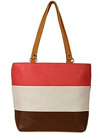 Zapatoz Women's Plain Multicolor Leatherite Tote Bag (Tote-H-Pech-wht-Brown)