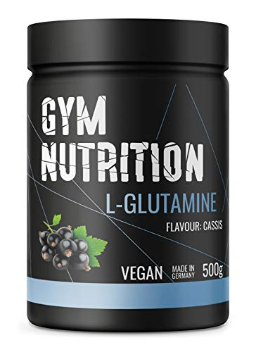 GYM-NUTRITION® - L-GLUTAMIN Ultrapure Pulver - extra hochdosiert & 99,5 % rein - proteinogene Alpha-Aminosäure, vegan - ideal für Body-Builder - Made in Germany - 500-g, Geschmack: CASSIS -