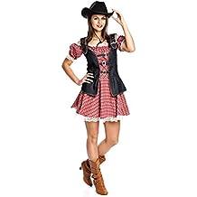Kostümplanet® Cowgirl-Kostüm Damen Cowboy-Kostüm Western Kleid Größe 32-34 36-38 40-42 44-46 48-50
