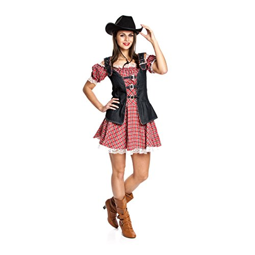 Kostümplanet® Cowgirl-Kostüm Damen Cowboy-Kostüm Western Kleid Größe 40-42