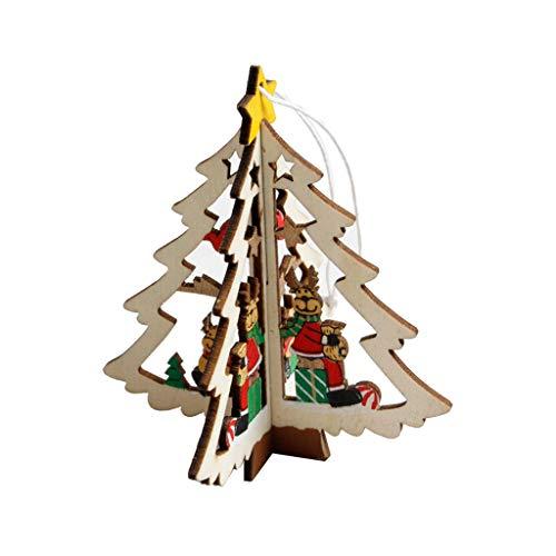 (zchddp 3D-Weihnachtsbaum-Anhänger zum Aufhängen, Holz, Weihnachtsdekoration, Party-Dekoration, Geschenk, Holz, Wood Color, 01:Tree)