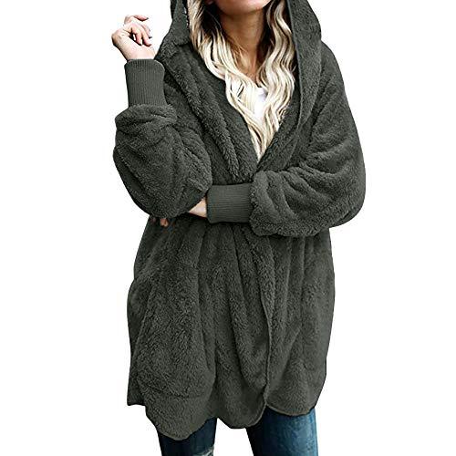Fenverk Damen Herbst Winter Outing Stil Frauen Warm Öffnen Clubbing Dating Elegante Hoodies Sweatshirt Langen Mantel Jacke Tops Outwear Hoodie Outwear Kapuzenpullover(A Grün,L)