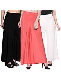 ROOLIUMS ® (Brand Factory Outlet) Women's Trendy And Stylish Malai Lycra Palazzo (Pack Of 3) Free Size