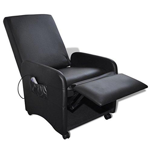 Preisvergleich Produktbild Festnight Klappbarer Massage-Liegestuhl aus Kunstleder Massagesessel Relax Massagestuhl mit Heizfunktion Schwarz