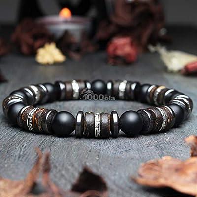 Bracelet homme perles Ø 8mm pierre gemme Agate Noir Bois Cocotier/Coco Hématite Fait main Made in France