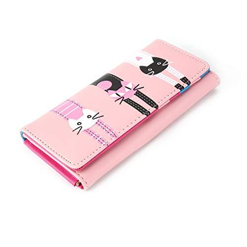 Fantasyworld Nette Karikatur-Kursteilnehmer-Mappe PU-Leder-Langen Geldbeutel-Kitten-Muster-Frauen-Mappen-Reißverschluss-Kartenhalter-Beutel-beiläufige Handtasche