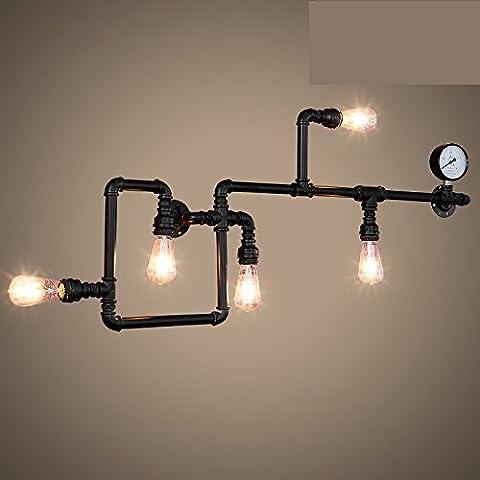 Wandun Viento Industrial Vintage Lámpara De Pared De Tubo De Hierro De Pared Lámpara Negro 90 * 36Cm