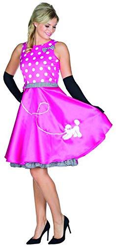 (Rubie's Fiftys Kleid pink Größe 44 Damen Karneval Pudel Rocke Billy Kostüm gepunktet)