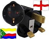 Urlaubs Reiseadapter England für Geräte aus Komoren Kindersicherung und Schutkontakt 250 Volt