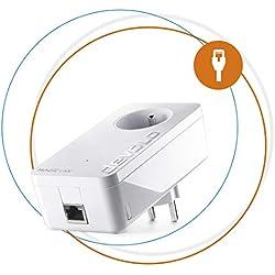 devolo Magic 2 LAN: adaptateur Powerline avec 2400 Mbits/s pour le réseau domestique via dLAN, 1 connecteur Ethernet Gigabit pour un Internet magique, avec prise de courant intégrée, blanc