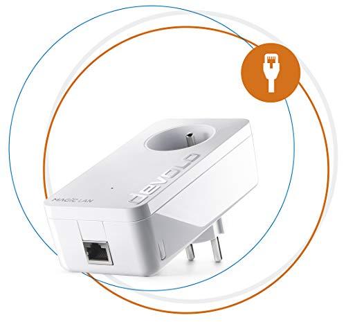 devolo Magic 1 LAN: adaptateur Powerline ultra-puissant jusqu'à 1200 Mbits/s pour le réseau domestique, avec prise de courant intégrée, pour un Internet magique à partir de la prise de courant, blanc