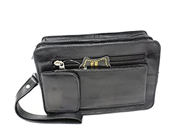Frédéric Johns® - Sacoche homme porté main - vide poches - sacoche cuir homme - sac porté main cuir - pochette cuir - poche scratch à l'avant - noir