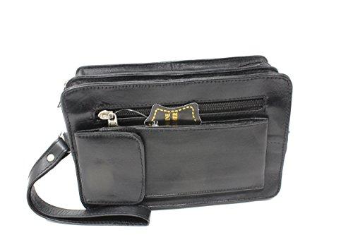 Frédéric Johns Sacoche homme porté main - vide poches - sacoche cuir homme - sac porté main cuir - pochette cuir - poche scratch à l'avant - noir