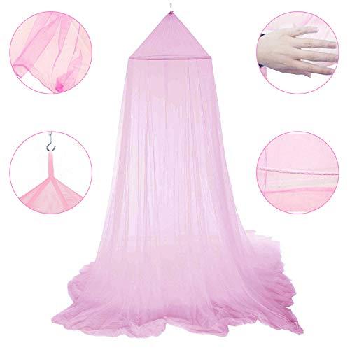 Ciel de Lit Moustiquaire Rose, Ciel de Lit Princesse Moustiquaire Dôme Polyester Décoration pour Chambre Bébé ou Enfant (Hauteur 250 cm)