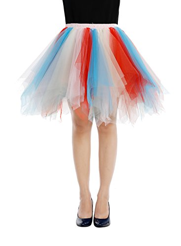 Bbonlinedress Kurz Retro Petticoat Rock Ballett Blase 50er Tutu Unterrock Blue-champagne-red (Kostüm Red M&m)